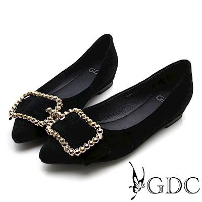 GDC-真皮尖頭復古水鑽方扣平底包鞋-黑色