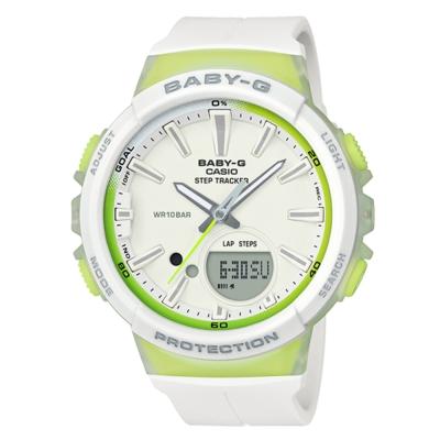 BABY-G 熱愛運動女性配備計步設計閒錶(BGS-100-7A2)綠秒針X白42.6mm