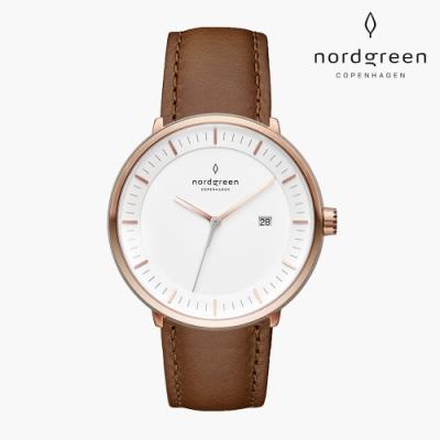 Nordgreen Philosopher 哲學家 玫瑰金系列 復古棕真皮錶帶手錶 36mm