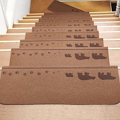 半島良品 可重覆黏貼樓梯止滑墊10入 三隻熊-咖啡