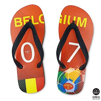 QWQ世界盃足球紀念鞋 比利時  細帶女款款天然橡膠人字拖