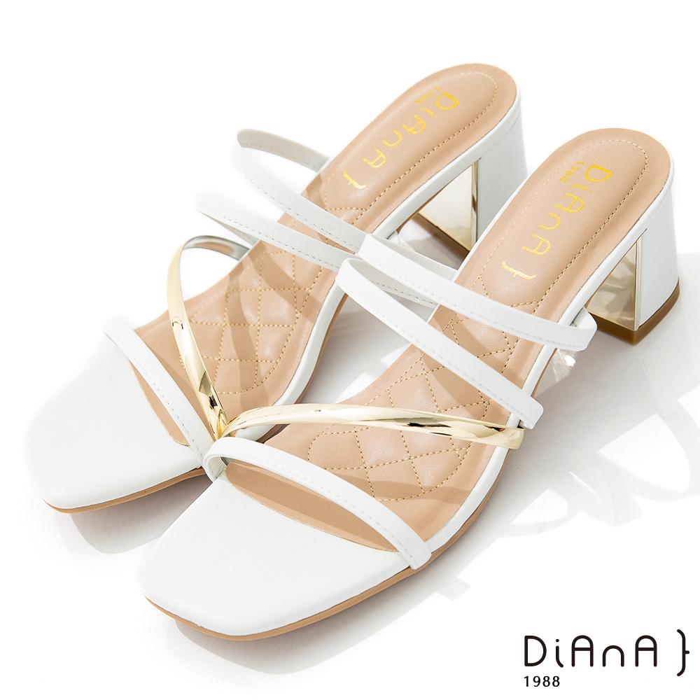 DIANA 6cm 質感牛皮交錯金屬線條方頭涼拖鞋-夏日風情-白