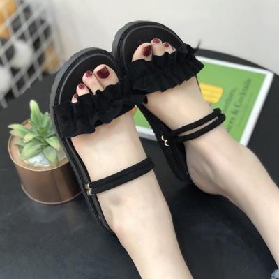 KEITH-WILL時尚鞋館 獨家價優雅美腿平底穿涼拖鞋-黑