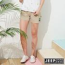 JEEP 女裝 仲夏休閒口袋短褲-卡其