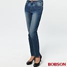 BOBSON 女款高腰膠原蛋白小直筒褲