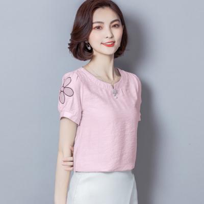 ALLK 刺繡雪紡上衣 共3色(尺寸M-XXL)