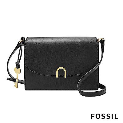 FOSSIL RONNIE 氣質簡約真皮小方包-黑色