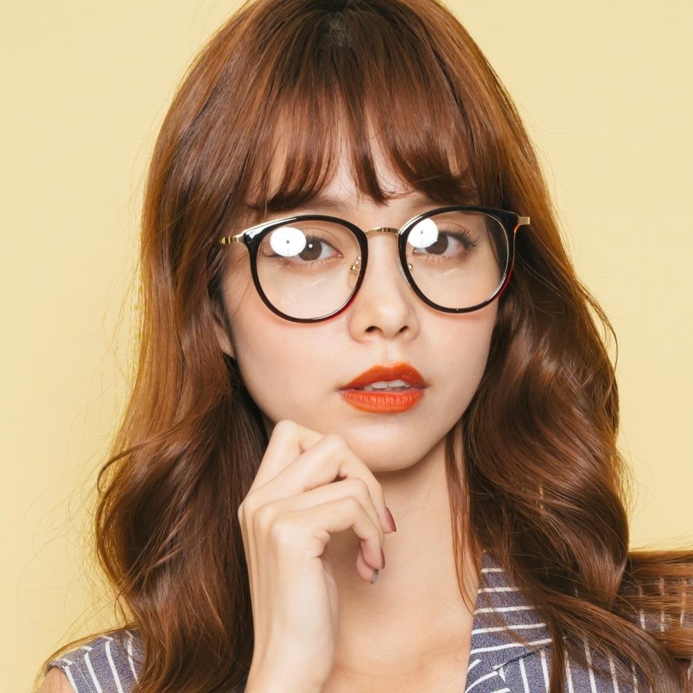 ALEGANT韓版拼接設計潮流深栗棕波士頓框金屬鏡腳UV400濾藍光眼鏡