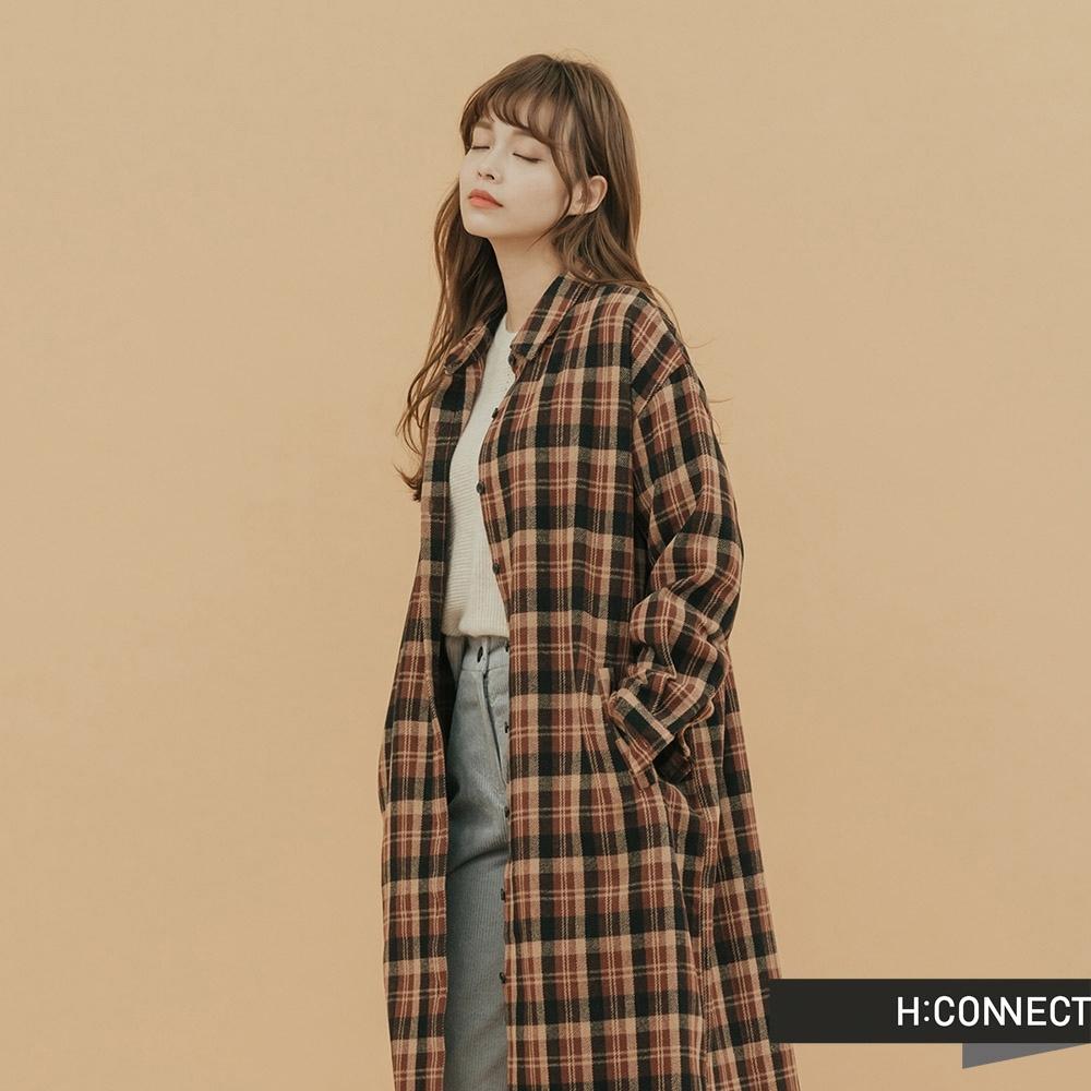 H:CONNECT 韓國品牌 女裝-格紋毛呢襯衫洋裝-棕(快)