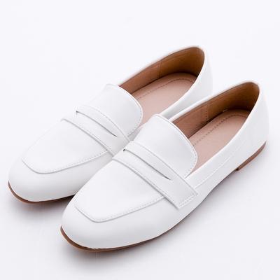 River&Moon小皮鞋 超軟皮革方頭樂福鞋 白
