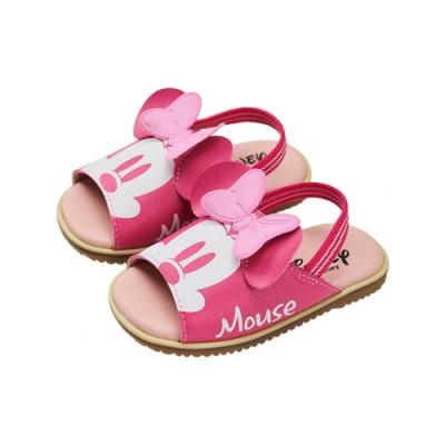 迪士尼童鞋 米妮  立體造型後鬆緊帶涼鞋-桃(柏睿鞋業)