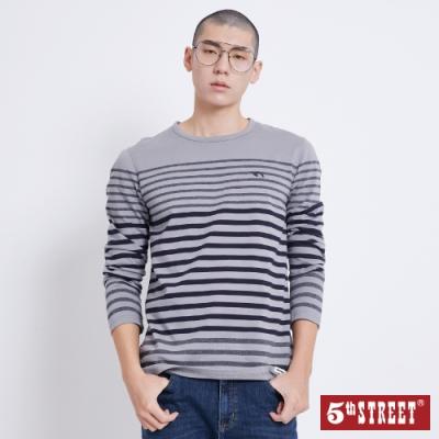 5th STREET 花紗條紋 長袖T恤-男-麻灰色