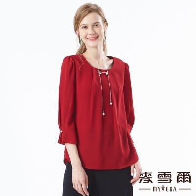 【麥雪爾】正面打摺珍珠裝飾七分袖上衣-紅