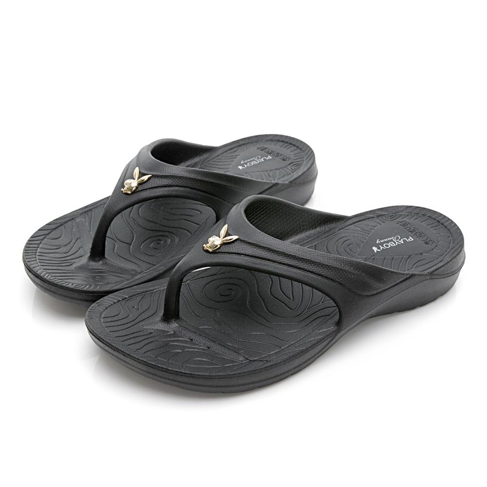 PLAYBOY 3D隱形氣墊夾腳拖鞋-黑-YT705CC