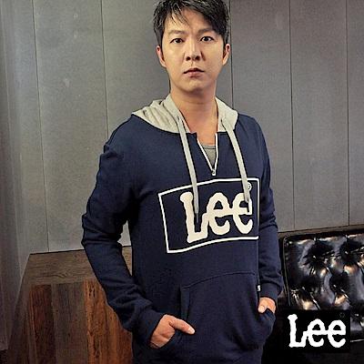 Lee 大框LOGO長袖連帽TEE恤/RG