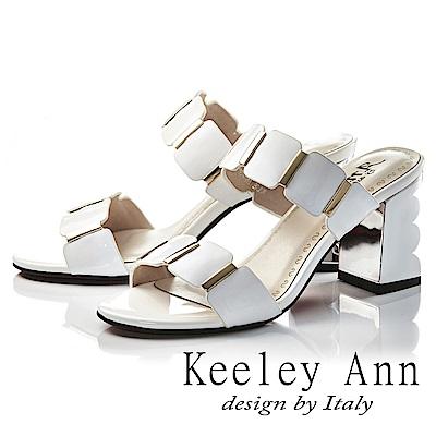 Keeley Ann氣質名媛 一字幾何方形素面高跟拖鞋(白色-Ann系列)