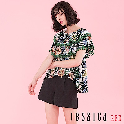 JESSICA RED - 夏日花草流蘇設計上衣
