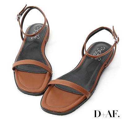 D+AF 純真夏氛.簡約一字繫踝平底涼鞋*棕