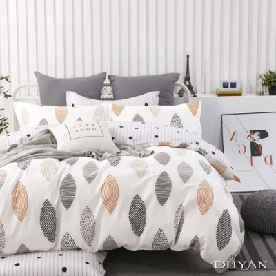 DUYAN竹漾-100%精梳純棉-單人三件式舖棉兩用被床包組-漫步里加 台灣製