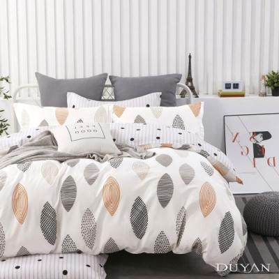 DUYAN竹漾-100%精梳純棉-雙人四件式舖棉兩用被床包組-漫步里加 台灣製