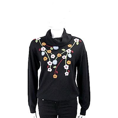 BLUGIRL 花卉織紋黑色翻領針織衫