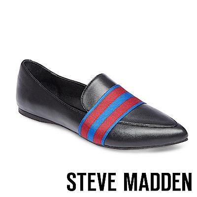 STEVE MADDEN-FOSTER 真皮質感學院風尖頭休閒鞋-黑色