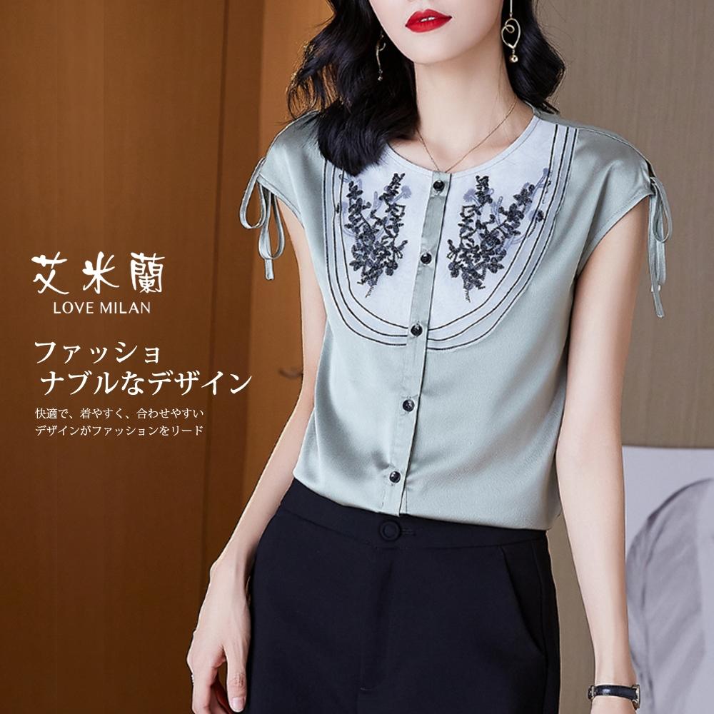 艾米蘭-韓版溫柔古典氣質純色圓領造型上衣-2色(M-XL)