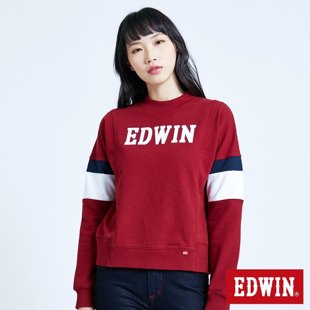 EDWIN 塗鴉系列 運動風配色厚長袖T恤-女-朱紅色