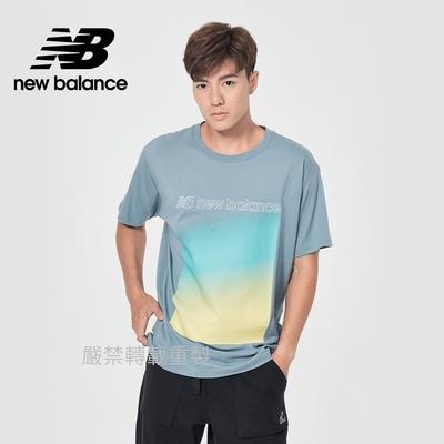 【New Balance】印花短袖T恤_男性_藍灰_AMT11536CYC