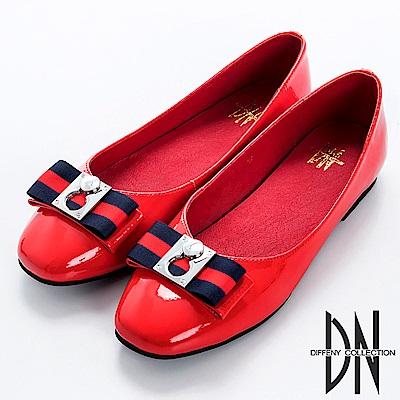 DN 時尚簡約 牛漆皮織帶蝴蝶結平底鞋-紅