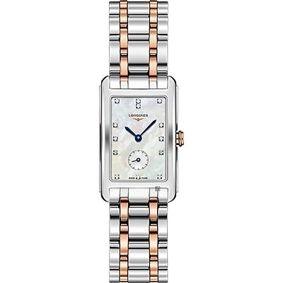 LONGINES浪琴 DolceVita 18K小秒針真鑽女錶-珍珠貝x雙色版/23mm