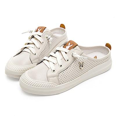 PLAYBOY 極簡百搭真皮穆勒鞋-米-Y525333