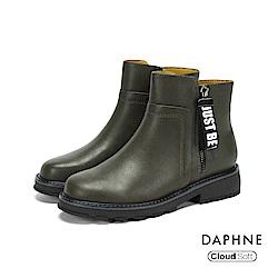 達芙妮DAPHNE 短靴-圓頭字母標語拉鏈撞色粗跟短靴-橄欖綠