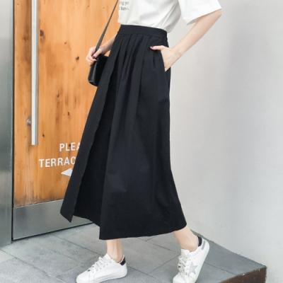 初色  純色不對稱造型寬褲-共4色-(F可選)