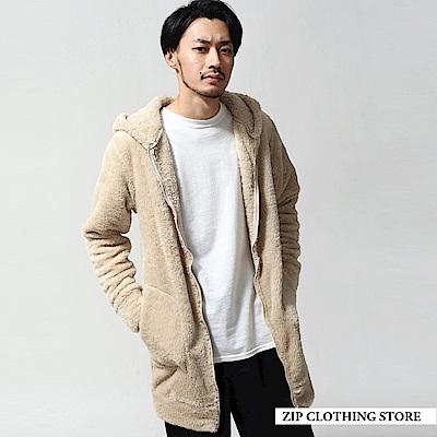 仿羊絨長版連帽外套(3色) ZIP日本男裝