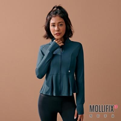 Mollifix 瑪莉菲絲 造型修身傘狀訓練外套 (藍綠)