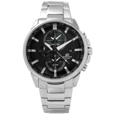 EDIFICE CASIO 卡西歐簡約世界風範三環不鏽鋼手錶-黑色/43mm
