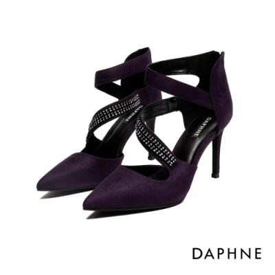 達芙妮DAPHNE 高跟鞋-絨面S腳背帶鑽尖頭高跟鞋-紫