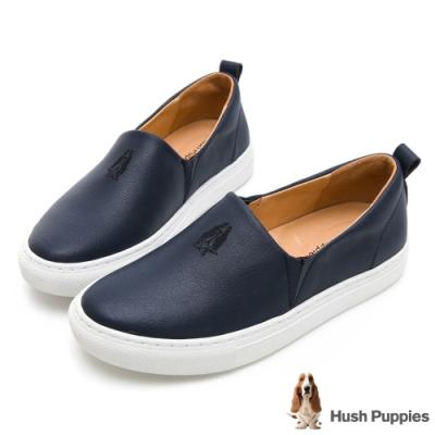 Hush Puppies Basset 女皮革直套便鞋-深藍色