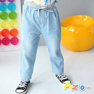 Azio Kids 長褲 休閒刷色鬆緊長褲(淺藍)