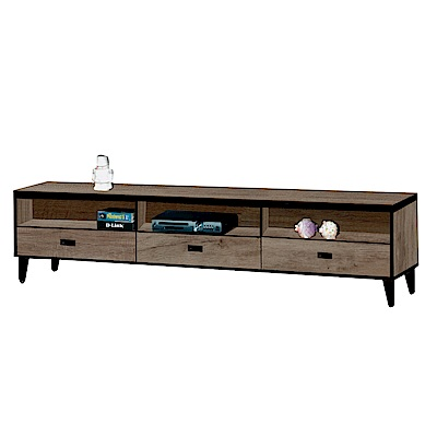 綠活居 納夫時尚6尺木紋電視櫃/視聽櫃-181.3x40x45.5cm-免組