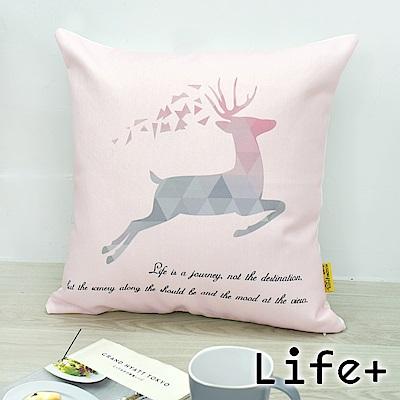 Life Plus 文青INS風 棉麻舒適方型抱枕/靠枕 (跳躍鹿)