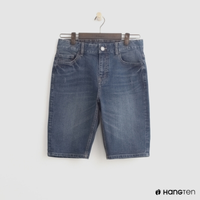 Hang Ten - 男裝 - 經典刷色牛仔五分短褲 - 深藍