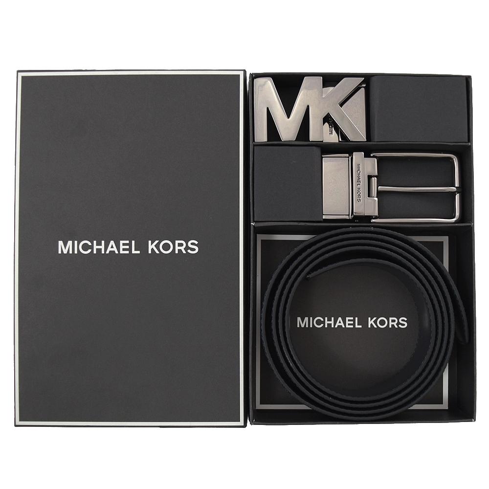 MICHAEL KORS MK雙皮帶頭雙面皮帶禮盒組(藍黑)