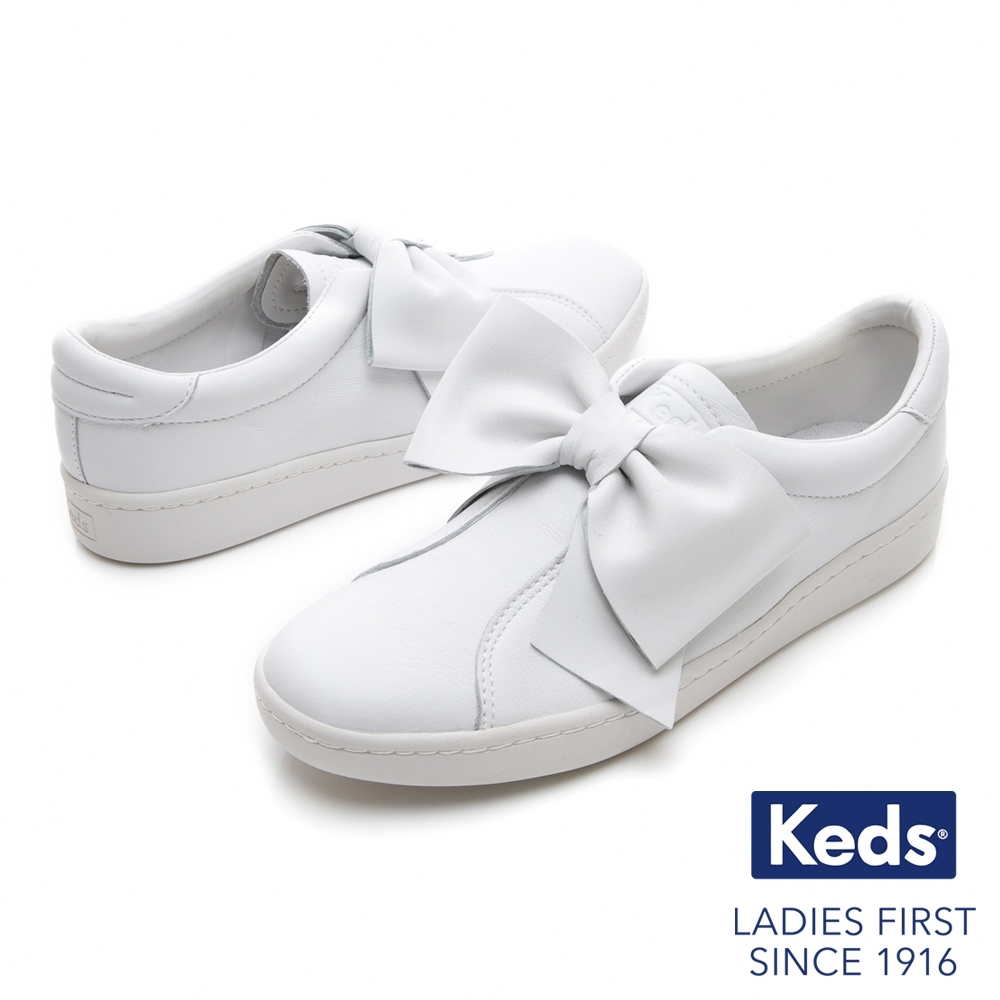 [時時樂限定]Keds 皮革蝴蝶結經典休閒鞋-二色