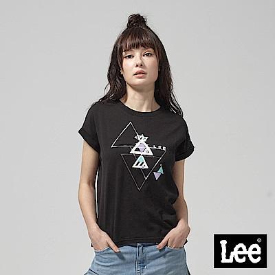 Lee 幾何聖杯符號落肩短袖圓領TEE-黑