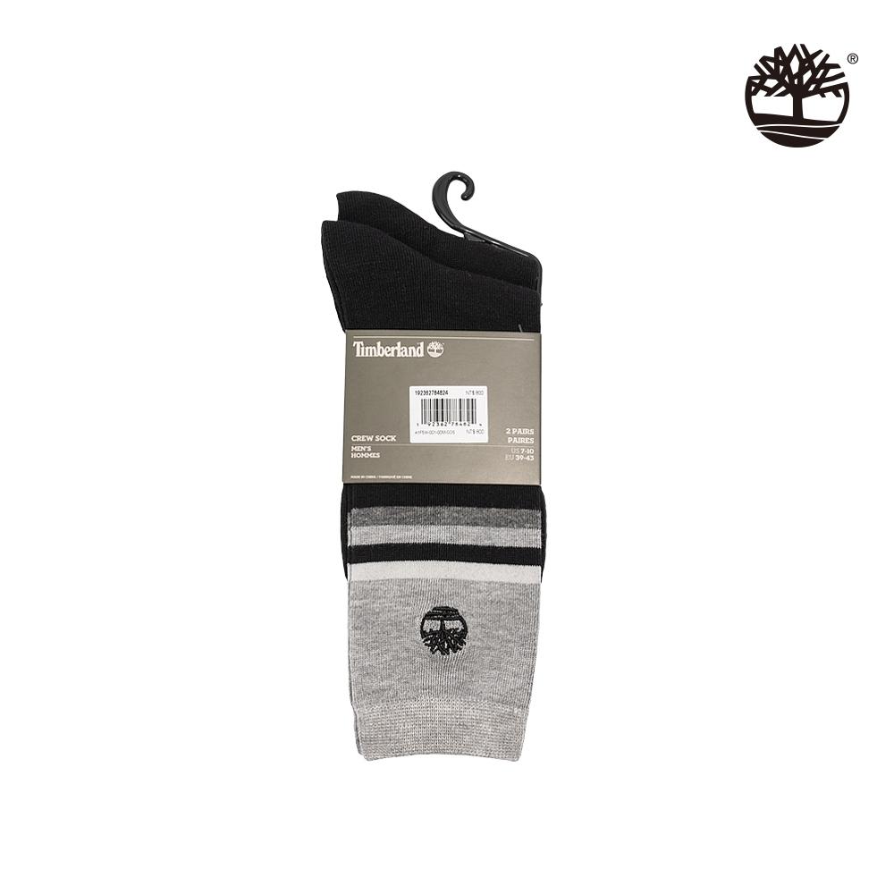 Timberland 中性黑麻灰刺繡標誌條紋高筒長襪|A1F5W