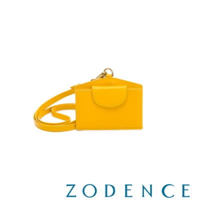 ZODENCE DUTTI系列進口牛皮可調式頸帶橫式證件套 黃