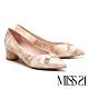 跟鞋 MISS 21 知性漆皮蝴蝶結飾釦帶尖頭粗低跟鞋-米 product thumbnail 1