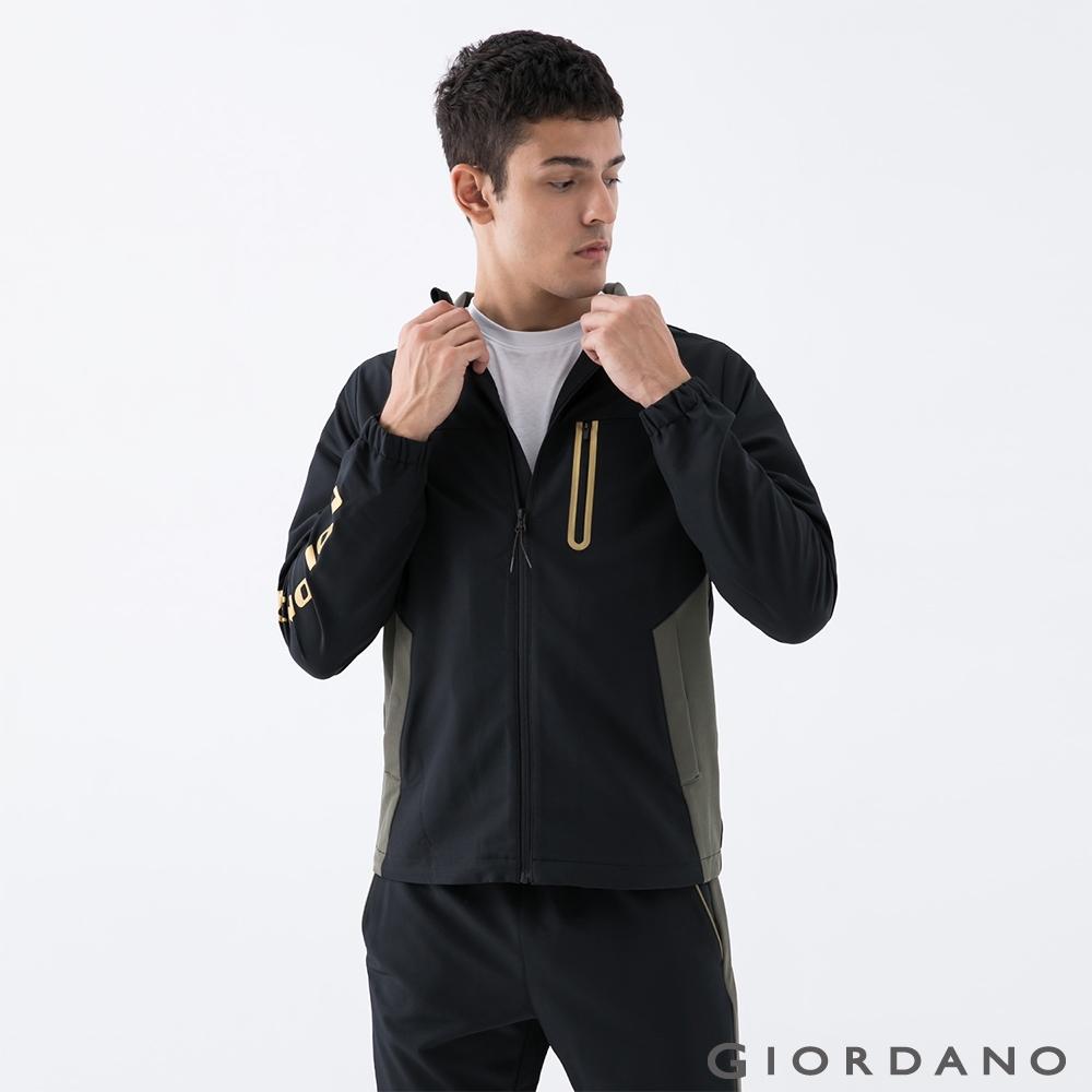 GIORDANO  男裝3M拼接立領外套 - 09 標誌黑X深軍綠